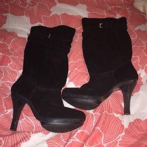 Michael Kors black suede boots heels buckle straps